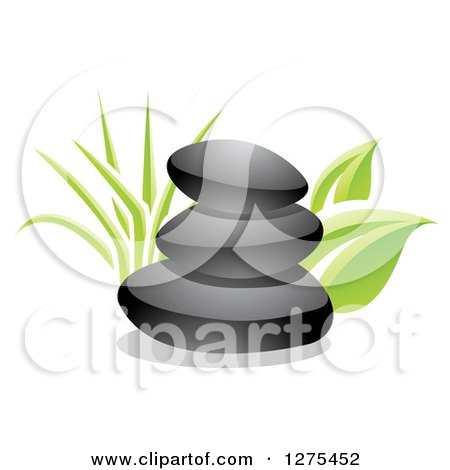 Clipart of a 3d Stack of Black Spa Stones with Green Grass and Leaves - Royalty Free Vector Illustration by cidepix