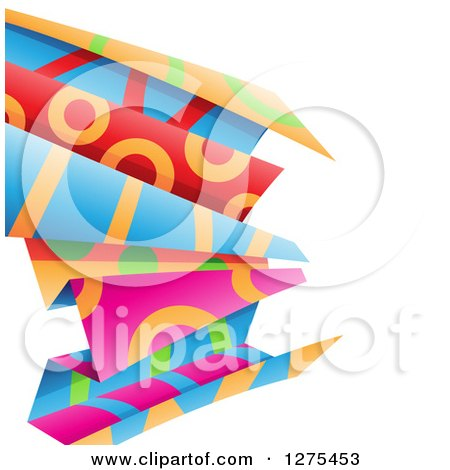 Clipart of Colorful and Patterned Folded Paper on White - Royalty Free Vector Illustration by cidepix