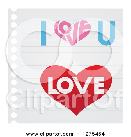 Clipart of Heart and Love Designs on Ruled Paper - Royalty Free Vector Illustration by cidepix