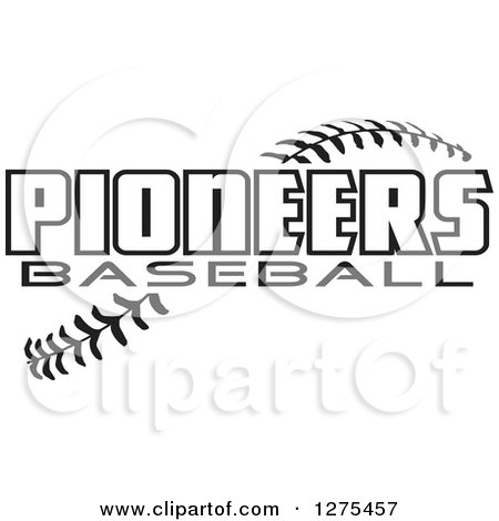 Clipart of Black and White Stitches and Pioneers Baseball Text - Royalty Free Vector Illustration by Johnny Sajem