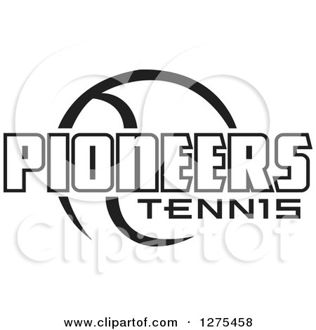 Clipart of a Black and White Ball and Pioneers Tennis Text - Royalty Free Vector Illustration by Johnny Sajem