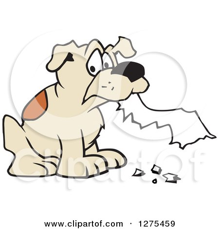 Clipart of a Dog Eating Homework - Royalty Free Vector Illustration by Johnny Sajem