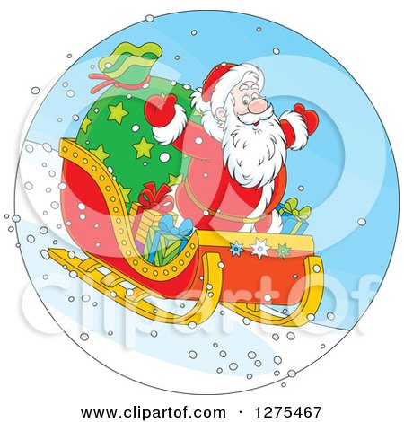 Clipart of Santa Flying down a Hillside on a Sleigh - Royalty Free Vector Illustration by Alex Bannykh
