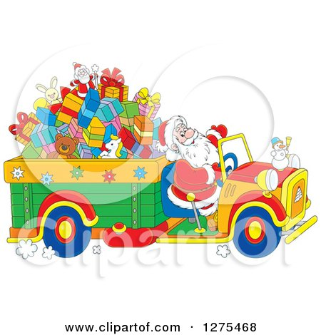 Clipart of Santa Driving a Truck Full of Christmas Gifts and Toys - Royalty Free Vector Illustration by Alex Bannykh