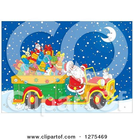 Clipart of Santa Driving a Truck Full of Christmas Gifts and Toys Through the Snow on Christmas Eve Night - Royalty Free Vector Illustration by Alex Bannykh