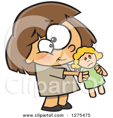 Cartoon Clipart of a Sweet Caucasian Girl Holding out Her Doll - Royalty Free Vector Illustration by toonaday