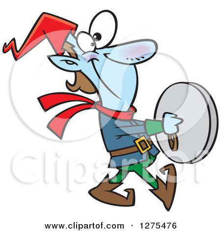 Cartoon Clipart of a Happy Christmas Elf Marching and Playing the Cymbals - Royalty Free Vector Illustration by toonaday