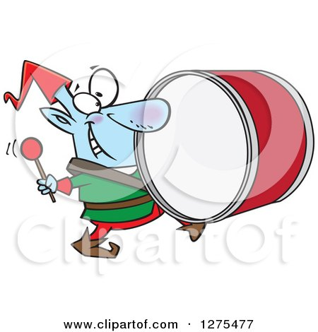 Cartoon Clipart of a Happy Christmas Elf Marching and Playing the Drums - Royalty Free Vector Illustration by toonaday