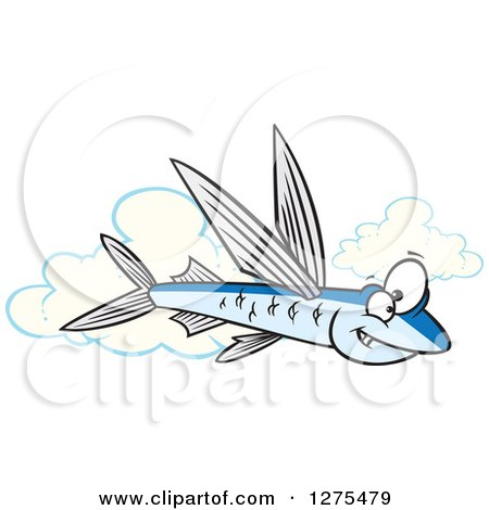 Cartoon Clipart of a Happy Flying Fish over Clouds - Royalty Free Vector Illustration by toonaday