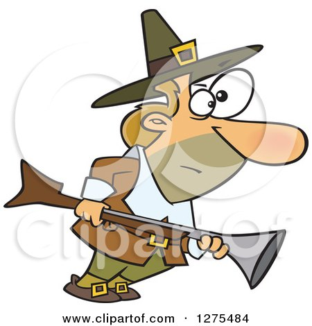 Cartoon Clipart of a Caucasian Thanksgiving Pilgrim Man Turkey Hunting with a Blunderbuss - Royalty Free Vector Illustration by toonaday