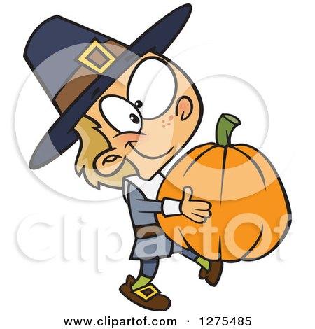 Happy Caucasian Pilgrim Boy Carrying a Big Pumpkin Posters, Art Prints