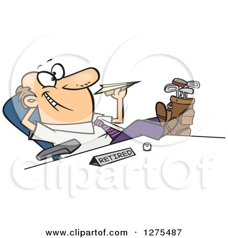 Cartoon Clipart of a Happy Retired Caucasian Businessman with Golf Clubs at His Side, Throwing a Paper Plane at His Desk - Royalty Free Vector Illustration by toonaday