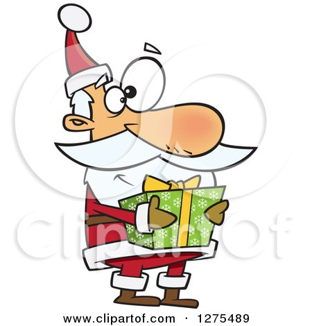 Cartoon Clipart of a Happy Santa Claus Holding a Christmas Gift - Royalty Free Vector Illustration by toonaday