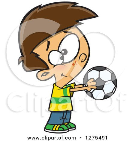 Cartoon Clipart of a Happy Caucasian Boy Holding out a Soccer Ball - Royalty Free Vector Illustration by toonaday