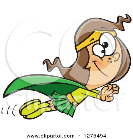 Cartoon Clipart of a Happy Caucasian Super Girl Holding Her Arms out and Flying - Royalty Free Vector Illustration by toonaday