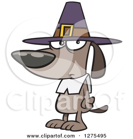 Cartoon Clipart of a Thanksgiving Pilgrim Dog - Royalty Free Vector Illustration by toonaday