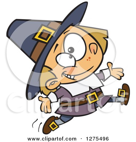 Cartoon Clipart of a Happy Caucasian Pilgrim Boy Leaping and Jumping - Royalty Free Vector Illustration by toonaday