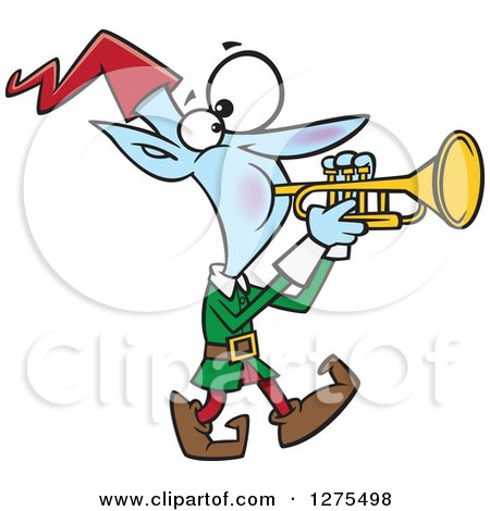 Cartoon Clipart of a Happy Christmas Elf Marching and Playing the Trumpet - Royalty Free Vector Illustration by toonaday