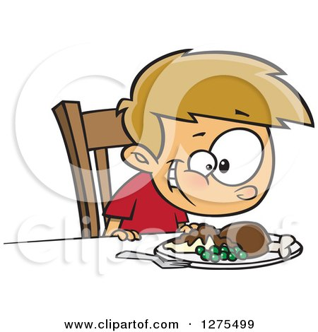 Cartoon Clipart of a Happy Caucasian Boy Smiling down at His Turkey Dinner - Royalty Free Vector Illustration by toonaday