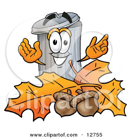 Clipart Picture of a Garbage Can Mascot Cartoon Character With Autumn Leaves and Acorns in the Fall by Toons4Biz