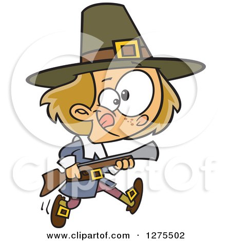 Cartoon Clipart of a Caucasian Pilgrim Boy Hunting with a Blunderbus - Royalty Free Vector Illustration by toonaday
