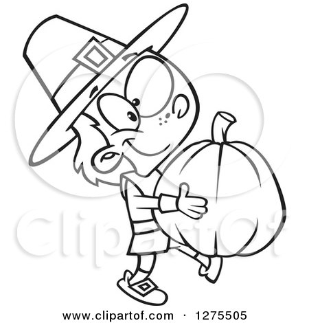 Cartoon Clipart of a Black and White Happy Pilgrim Boy Carrying a Big Pumpkin - Royalty Free Vector Line Art Illustration by toonaday