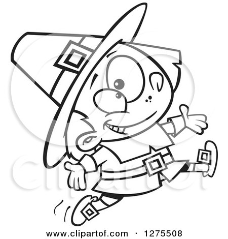Cartoon Clipart of a Black and White Happy Pilgrim Boy Leaping and Jumping - Royalty Free Vector Line Art Illustration by toonaday