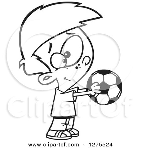 Cartoon Clipart of a Black and White Happy Boy Holding out a Soccer Ball - Royalty Free Vector Line Art Illustration by toonaday