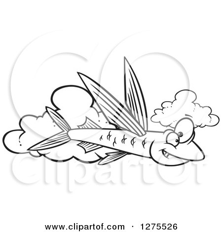 Cartoon Clipart of a Black and White Happy Flying Fish over Clouds - Royalty Free Vector Line Art Illustration by toonaday
