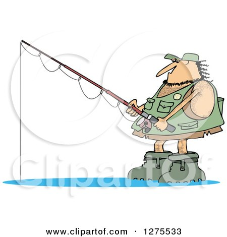 Clipart of a Hairy Fishing Caveman with Gear - Royalty Free Vector Illustration by djart