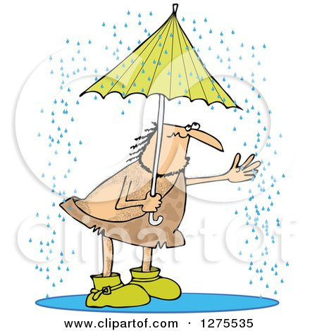 Clipart of a Hairy Caveman Reaching out into the Rain from Under an Umbrella - Royalty Free Vector Illustration by djart