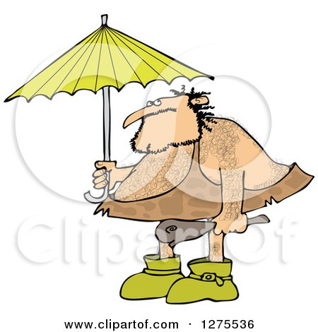 Clipart of a Hairy Caveman Holding a Club and Standing Under an Umbrella - Royalty Free Vector Illustration by djart