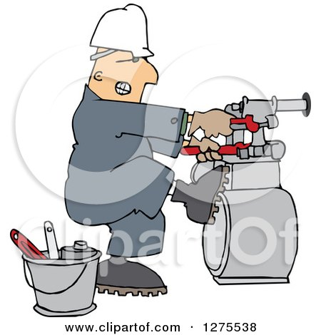 Clipart of a Caucasian Gas Meter Man Struggling with a Double Wrench - Royalty Free Vector Illustration by djart