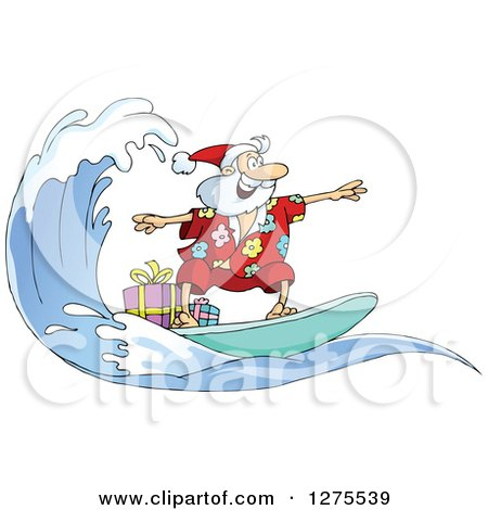 Clipart of Santa Clause Surfing and Riding a Wave with Christmas Gifts on Board - Royalty Free Vector Illustration by Holger Bogen