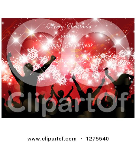 Clipart of a Silhouetted Group of People Dancing at a Christmas Party over Red with Snowflakes and Sparkles Under Merry Christmas and a Happy New Year Text - Royalty Free Vector Illustration by KJ Pargeter