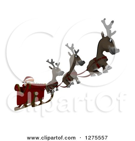 Clipart of 3d Christmas Reindeer Flying Santa in a Sleigh over White - Royalty Free Illustration by KJ Pargeter