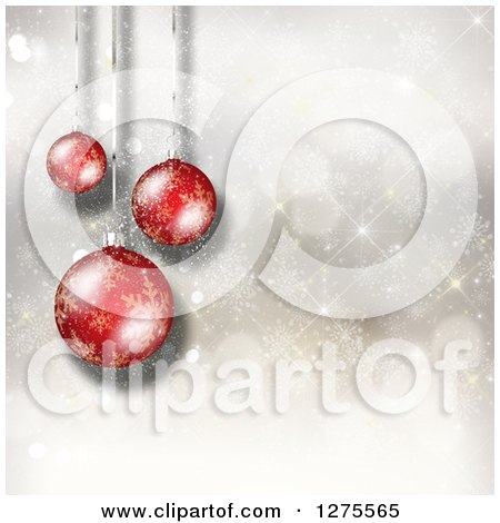 Clipart of a Christmas Background of 3d Suspended Red Ornaments over Snowflakes and Bokeh - Royalty Free Illustration by KJ Pargeter