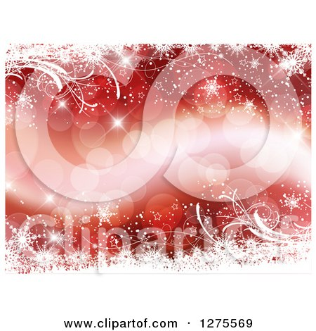 Clipart of a Red Christmas Background of Bokeh Flares Bordered with White Snowflakes and Vines - Royalty Free Vector Illustration by KJ Pargeter