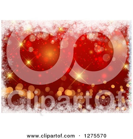 Clipart of a Red Christmas Background with Gold Bokeh and a Border of Snowflakes - Royalty Free Illustration by KJ Pargeter