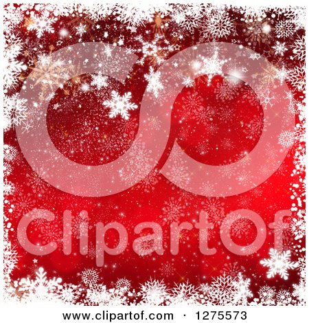 Clipart of a Red Gold and White Christmas Background with a Border of Snowflakes - Royalty Free Illustration by KJ Pargeter