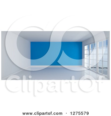 Clipart of a 3d Empty Room Interior with Floor to Ceiling Windows and a Blue Wall - Royalty Free Illustration by KJ Pargeter