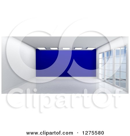 Clipart of a 3d Empty Room Interior with Floor to Ceiling Windows and a Dark Blue Wall - Royalty Free Illustration by KJ Pargeter