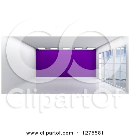 Clipart of a 3d Empty Room Interior with Floor to Ceiling Windows and a Purple Wall - Royalty Free Illustration by KJ Pargeter