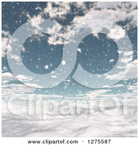 Clipart of a 3d Snowy Winter Landscape with Blue Sky and Clouds - Royalty Free Illustration by KJ Pargeter
