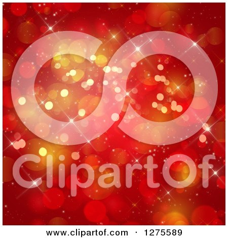 Clipart of a Red and Gold Christmas Bokeh Background - Royalty Free Illustration by KJ Pargeter
