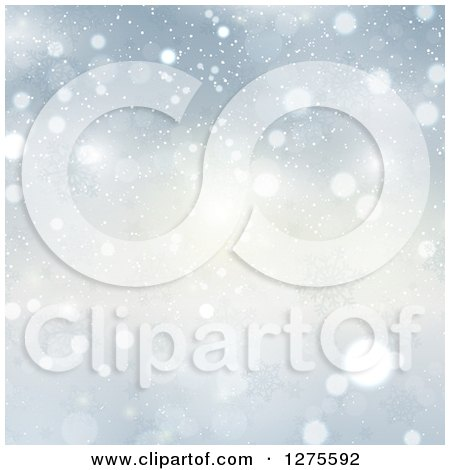 Clipart of a Christmas Background of Snow and Snowflakes - Royalty Free Vector Illustration by KJ Pargeter
