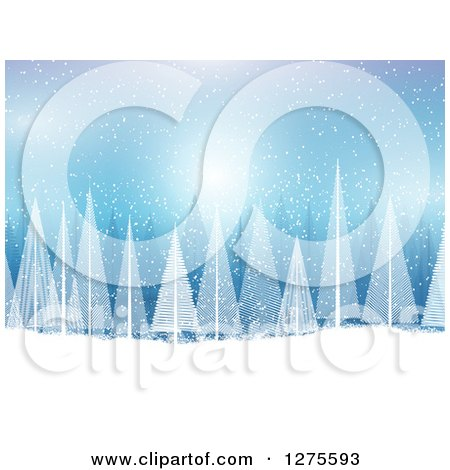 Clipart of a Blue Christmas Background with White Evergreen Trees and Snow - Royalty Free Vector Illustration by KJ Pargeter