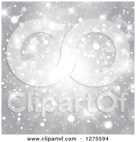 Clipart of a Silver Christmas Star and Light Burst with Snowflakes - Royalty Free Vector Illustration by KJ Pargeter