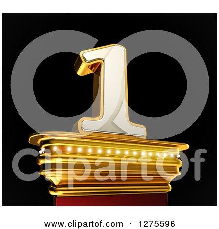 Clipart of a 3d 1 Number One on a Gold Pedestal over Black - Royalty Free Illustration by stockillustrations