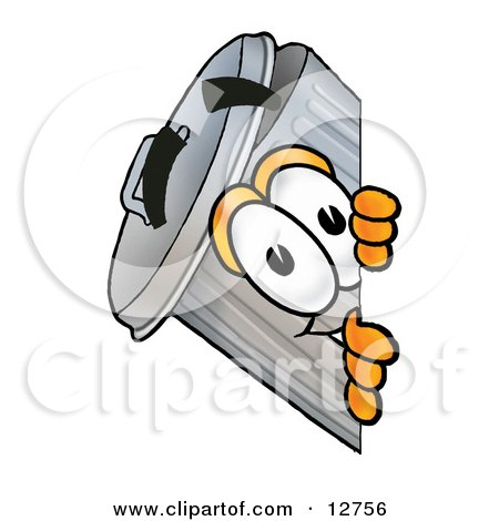 Clipart Picture of a Garbage Can Mascot Cartoon Character Peeking Around a Corner by Toons4Biz